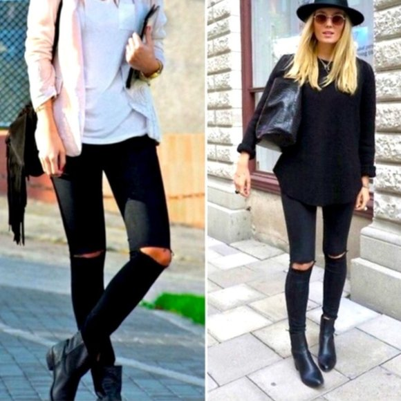 Zara Skinny High-Rise Distressed Jeans Rippd Knees